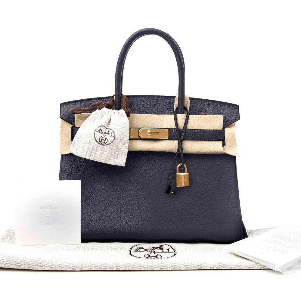 New Hermes Birkin Togo 30 Blue Nuit Women's Handbag