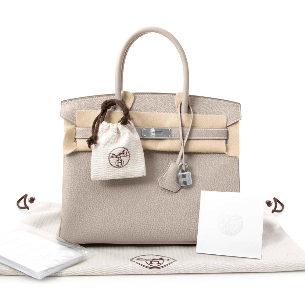New Hermes Togo Birkin 30 Bag Craie Leather Women's