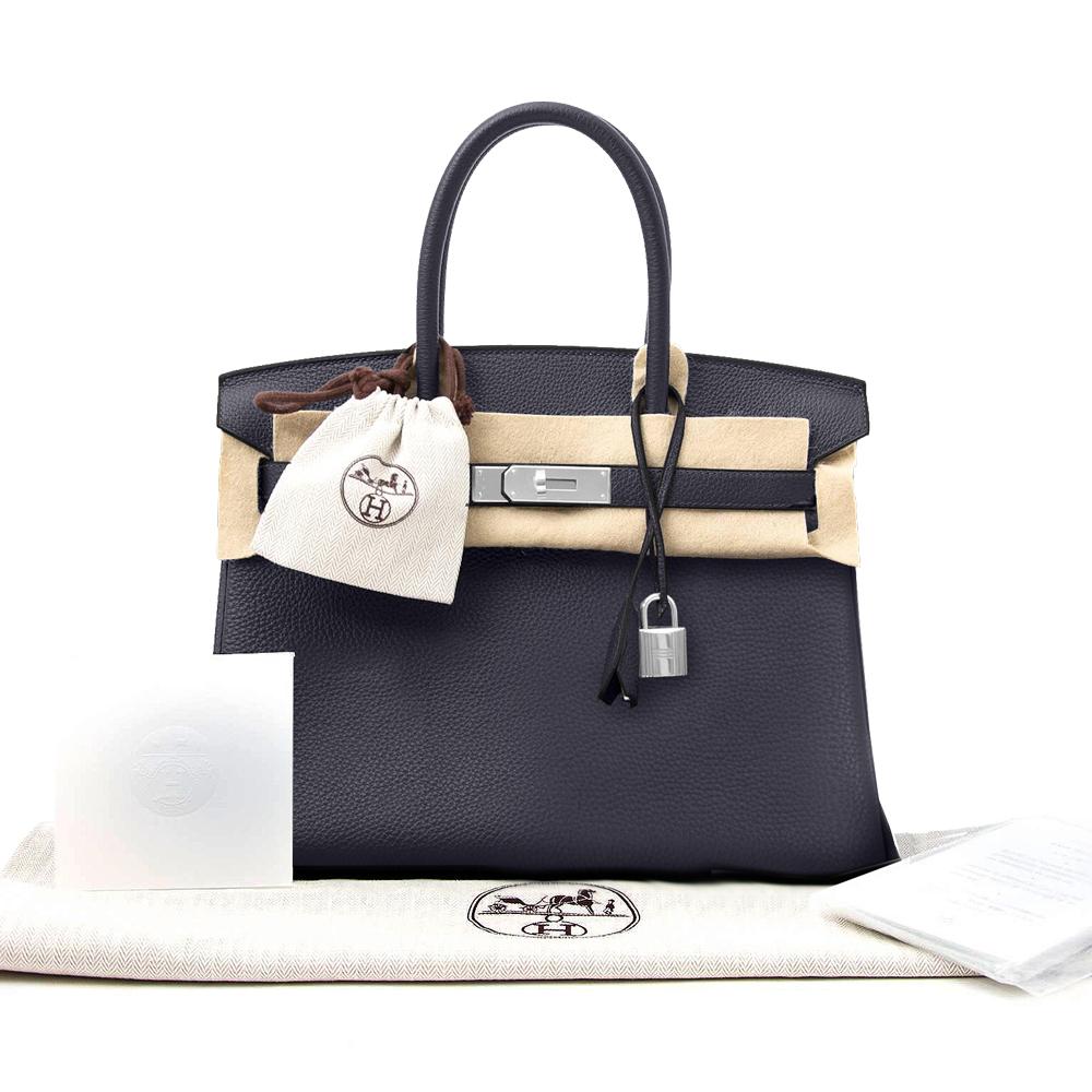 New Women's Hermes 30 Birkin Bag Blue Nuit Togo Handbag
