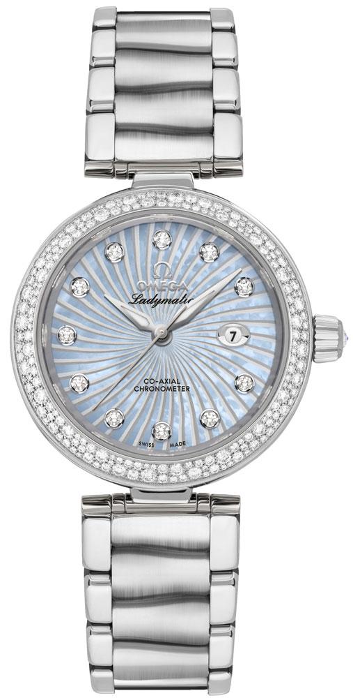 Omega De Ville Ladymatic Blue Pearl & Diamond Ladies Luxury Watch 425.35.34.20.57.002