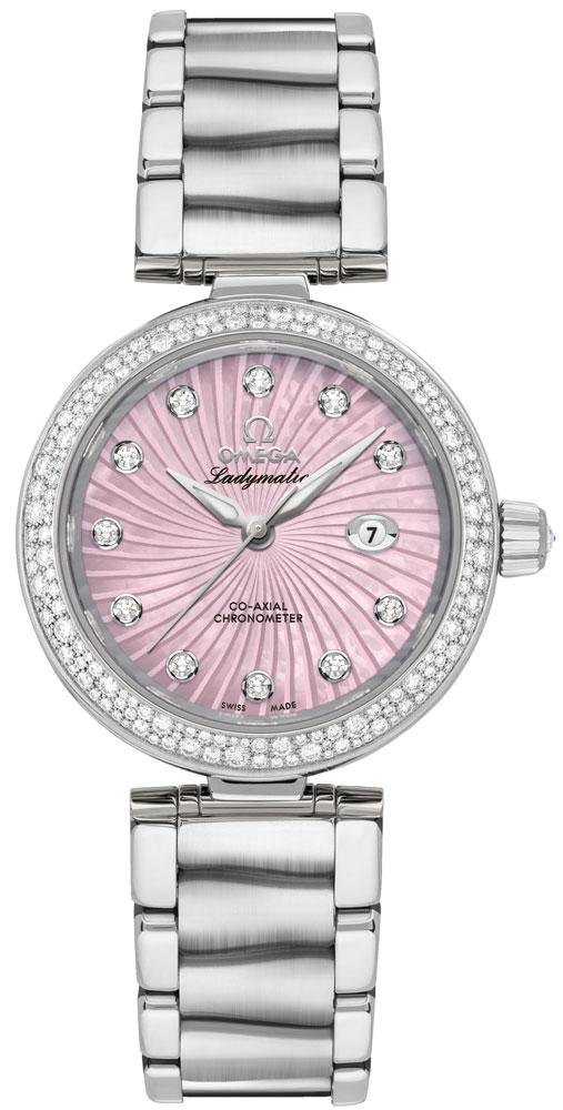 Omega De Ville Ladymatic Pearl Pink Dial & Diamond Women's Luxury Watch 425.35.34.20.57.001