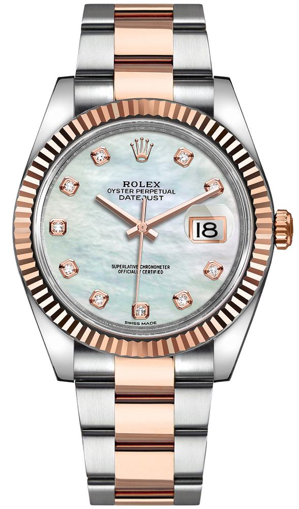 Rolex Datejust 41 Everose Gold Fluted Bezel Men's Watch 126331