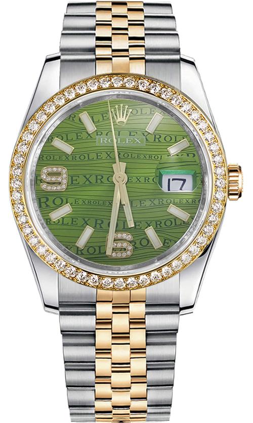 Rolex Datejust 36 Green Diamond Dial Watch 116243