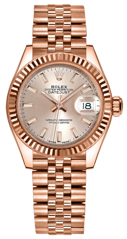 Rolex Lady-Datejust 28 18k Everose Gold Women's Watch 279175