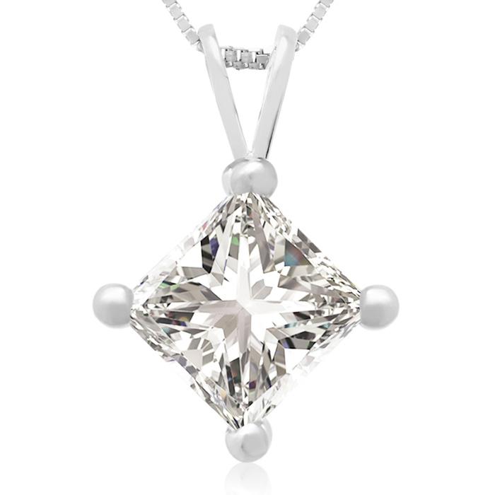 1.50 Carat 14k White Gold Princess Cut Diamond Pendant Necklace, , 18 Inch Chain by SuperJeweler