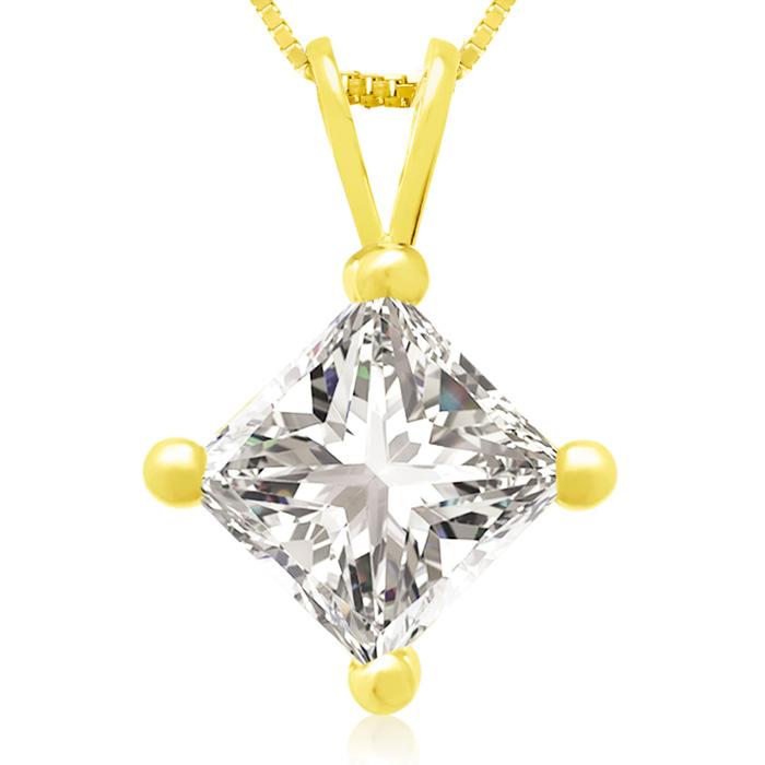 1.50 Carat 14k Yellow Gold Princess Cut Diamond Pendant Necklace, , 18 Inch Chain by SuperJeweler