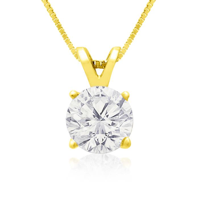 1 Carat 14k Yellow Gold Diamond Pendant Necklace, 2 Stars, , 18 Inch Chain by SuperJeweler