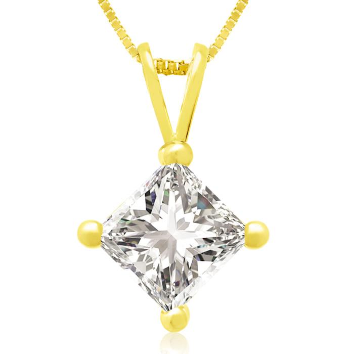 1 Carat 14k Yellow Gold Princess Cut Diamond Pendant Necklace, , 18 Inch Chain by SuperJeweler