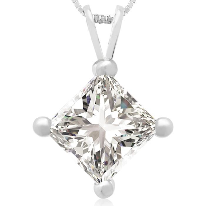 2 Carat 14k White Gold Princess Cut Diamond Pendant Necklace, , 18 Inch Chain by SuperJeweler