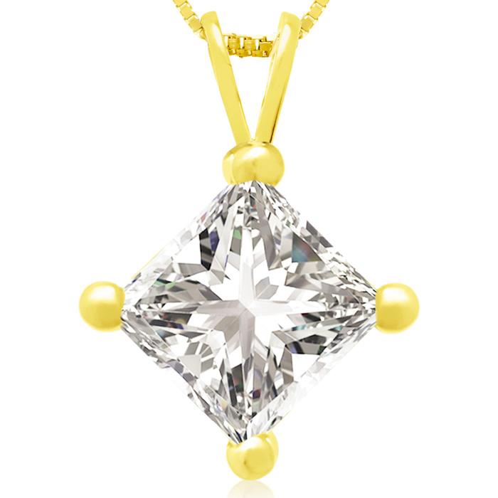 2 Carat 14k Yellow Gold Princess Cut Diamond Pendant Necklace, , 18 Inch Chain by SuperJeweler
