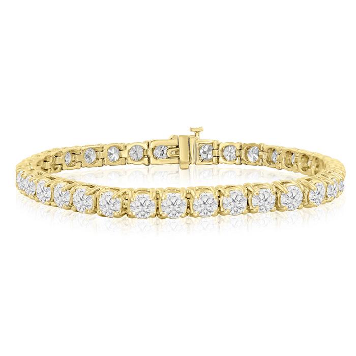 7 Inch 14K Yellow Gold (17.1 g) 11 Carat TDW Round Diamond Tennis Bracelet (, ) by SuperJeweler
