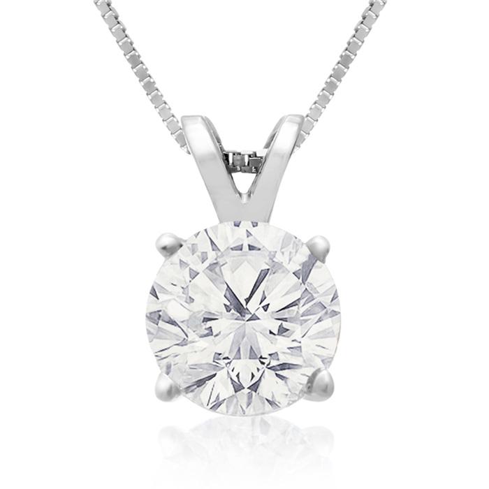 Fine 1.50 Carat 14k White Gold Diamond Pendant Necklace, , 18 Inch Chain by SuperJeweler
