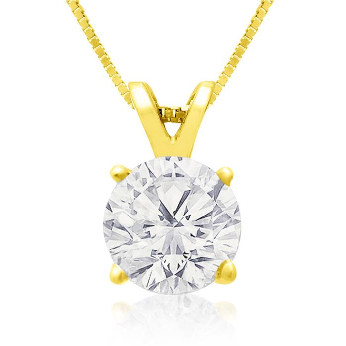 Fine 1.50 Carat 14k Yellow Gold Diamond Pendant Necklace, , 18 Inch Chain by SuperJeweler