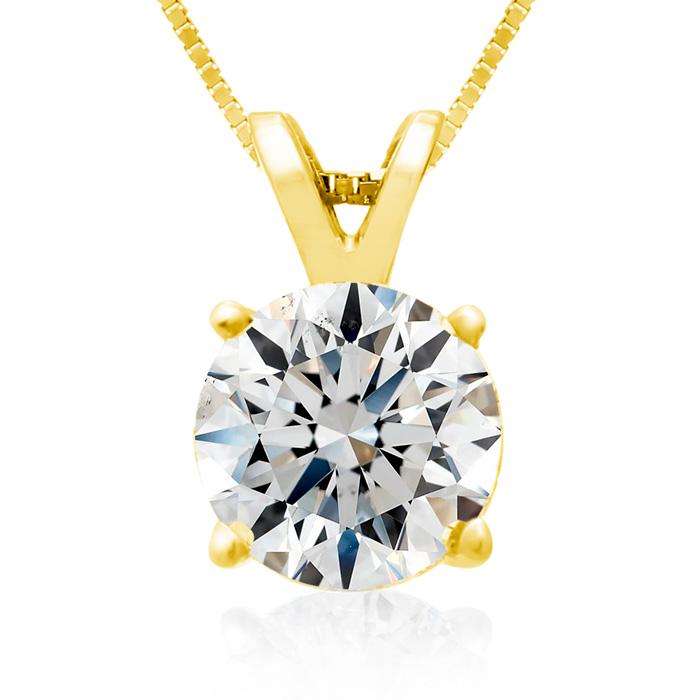 Fine 2 Carat 14k Yellow Gold Diamond Pendant Necklace, , 18 Inch Chain by SuperJeweler