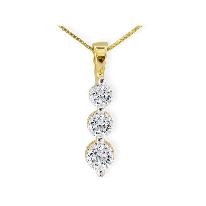 1.5 Carat Three Diamond Drop Style Diamond Pendant Necklace in 14k Yellow Gold, , 18 Inch Chain by SuperJeweler