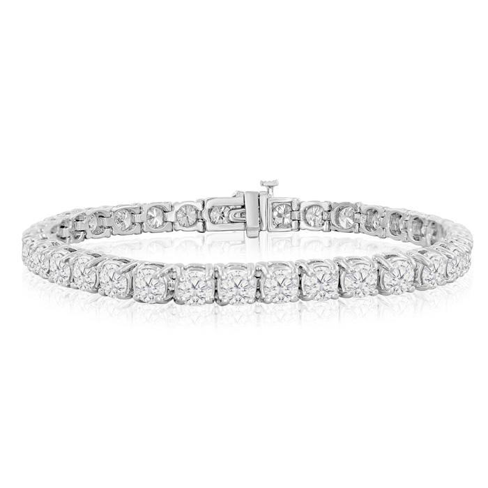 11 Carat Round Setting Diamond Tennis Bracelet in 14K White Gold (16.4 g), , 7 Inch by SuperJeweler