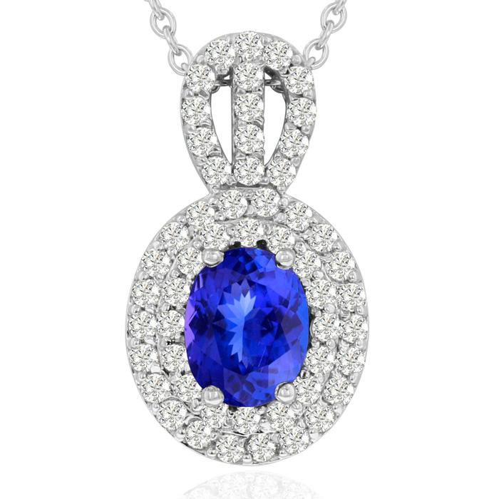 3.50 Carat Fine Quality Tanzanite & Diamond Necklace in 14K White Gold (8.9 g), , 18 Inch Chain by SuperJeweler