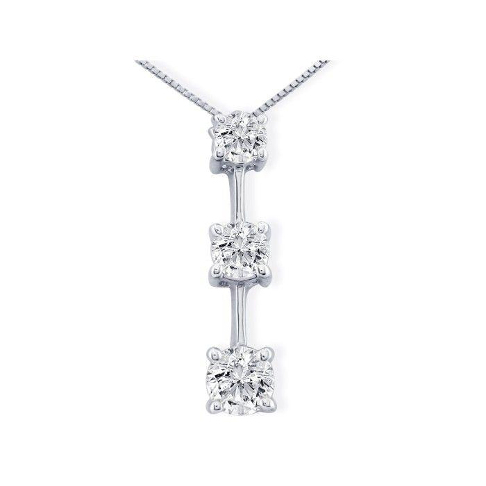 Impressive 2 Carat Fine Three Diamond Line Necklace in 14k White Gold, , 18 Inch Chain by SuperJeweler