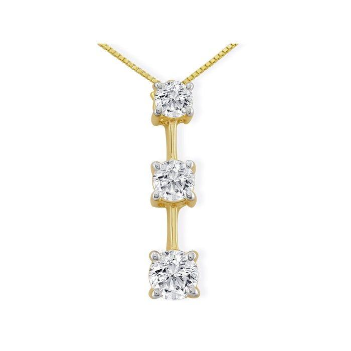 Impressive 2 Carat Fine Three Diamond Pendant Necklace in 14k Yellow Gold, , 18 Inch Chain by SuperJeweler