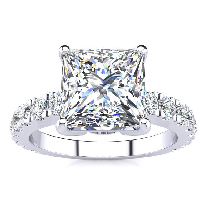 La Fantasia 3.50 Carat Princess Cut Center Diamond White Gold Engagement Ring w/ 2.50 Carat Center Diamond White Gold,  by SuperJeweler