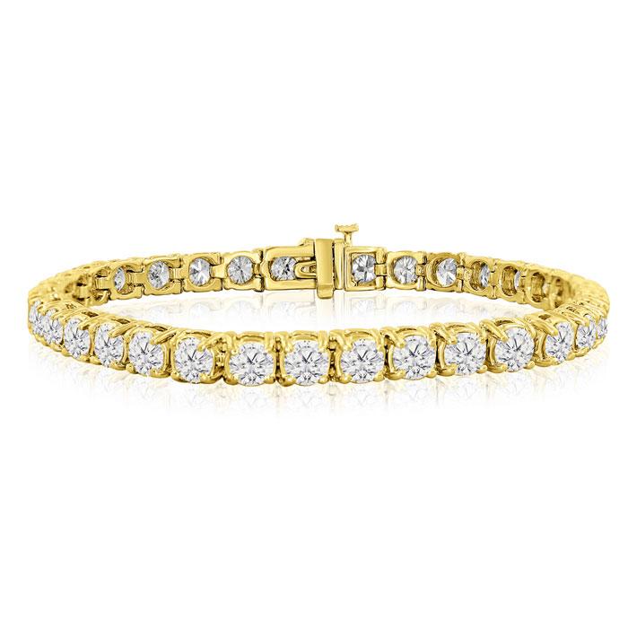8 Inch 14K Yellow Gold (19 g) 13 Carat TDW Round Diamond Tennis Bracelet (, ) by SuperJeweler