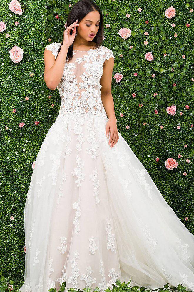 Jovani - JB47704 Cap Sleeve Illusion Bodice Wedding Ballgown