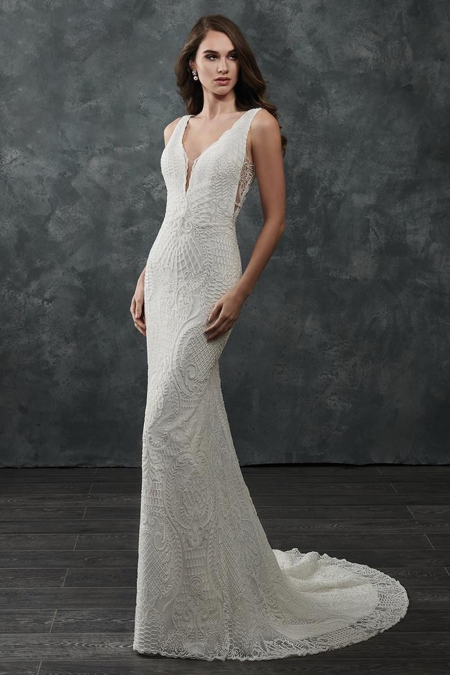 Rachel Allan Bridal - M659 Beaded Deep V-neck Wedding Dress With Train
