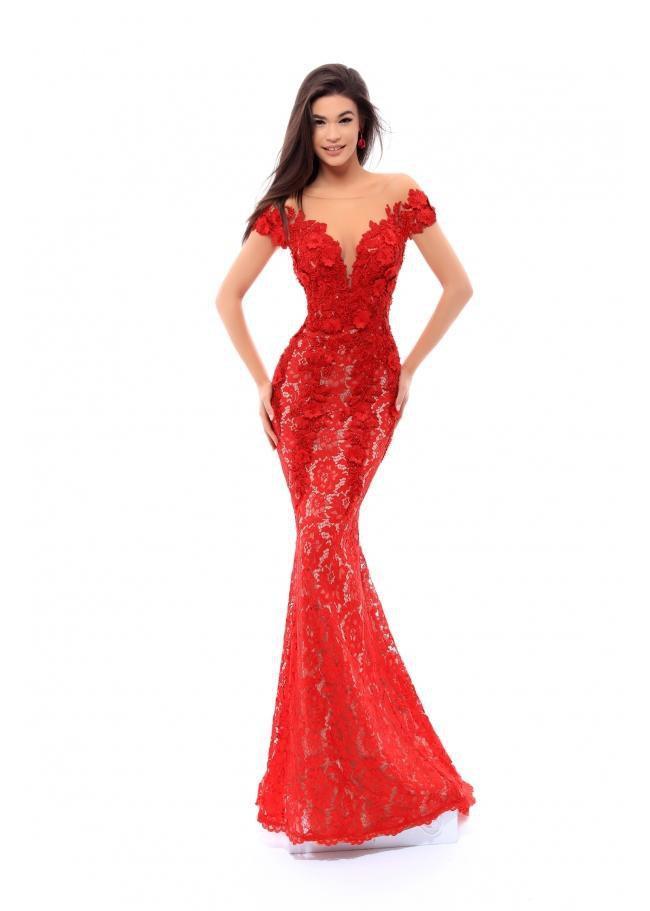 Tarik Ediz - 93430 Floral Embroidered Lace Jersey Dress