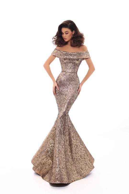 Tarik Ediz - 93622 Off-Shoulder Jacquard Mermaid Dress With Train