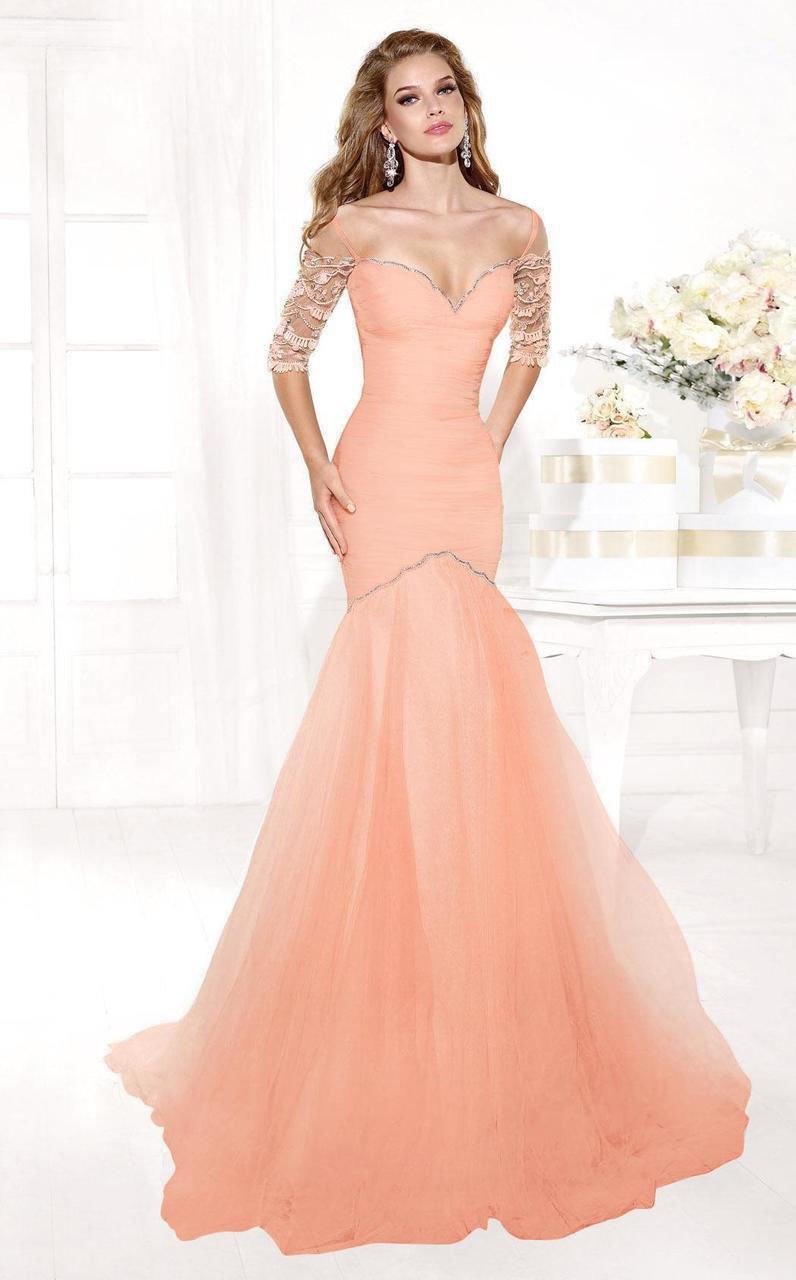 Tarik Ediz - mte92372 Bejeweled Illusion Sleeve Fitted Trumpet Gown