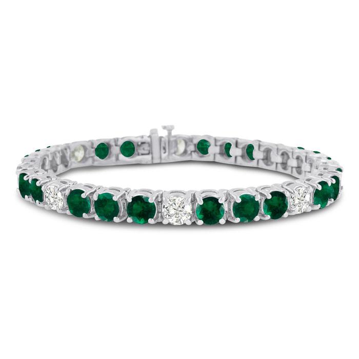 16 Carat Emerald Cut & Diamond Bracelet in 14K White Gold (20 g), G/H Color, 7 Inch by SuperJeweler