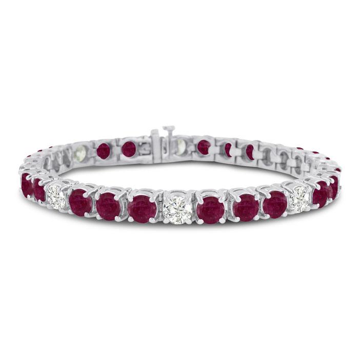 16 Carat Ruby & Diamond Bracelet in 14K White Gold (20 g), G/H Color, 7 Inch by SuperJeweler