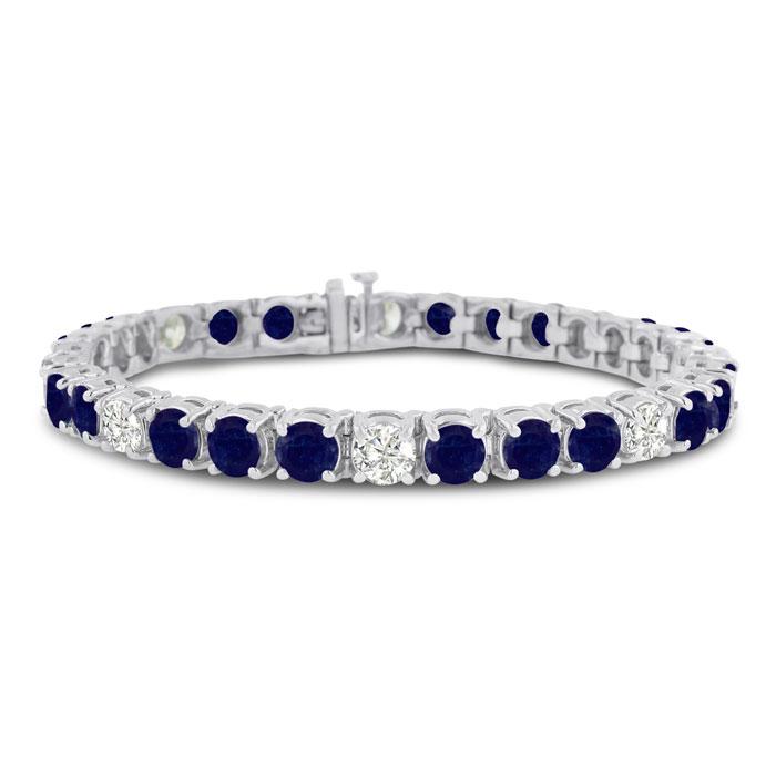 16 Carat Sapphire & Diamond Bracelet in 14K White Gold (20 g), , 7 Inch by SuperJeweler