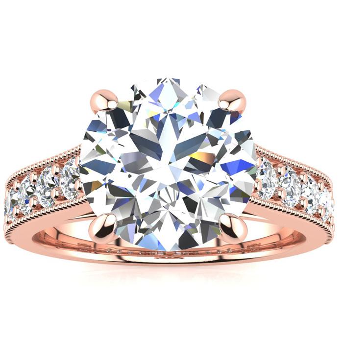 18K Rose Gold (5.7 g) 4 1/2 Carat Classic Round Diamond Engagement Ring,  by SuperJeweler