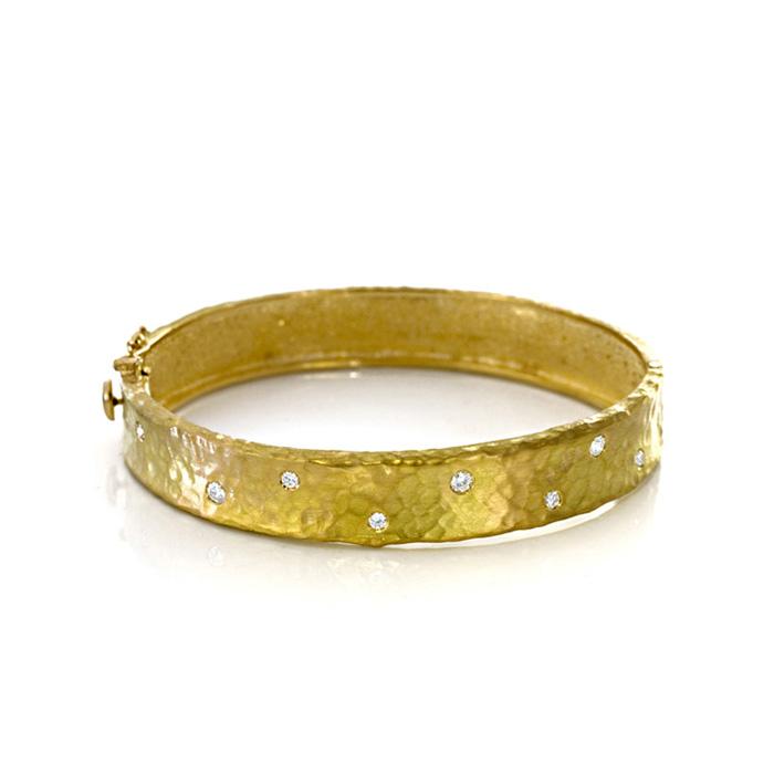 18K Yellow Gold 11.0mm Hammered Finish, Diamond Polka Dot Bracelet by SuperJeweler