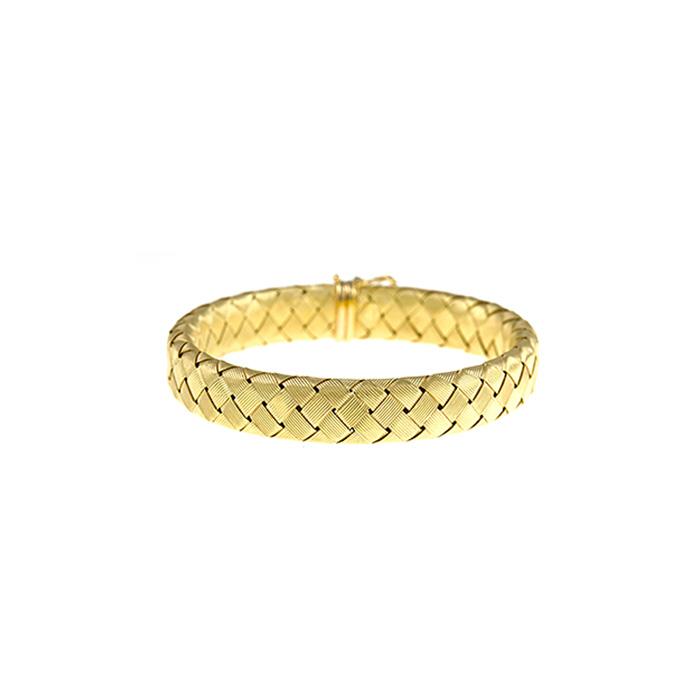 18K Yellow Gold 11.2mm 7.5 inch Basket-Weave Bracelet by SuperJeweler