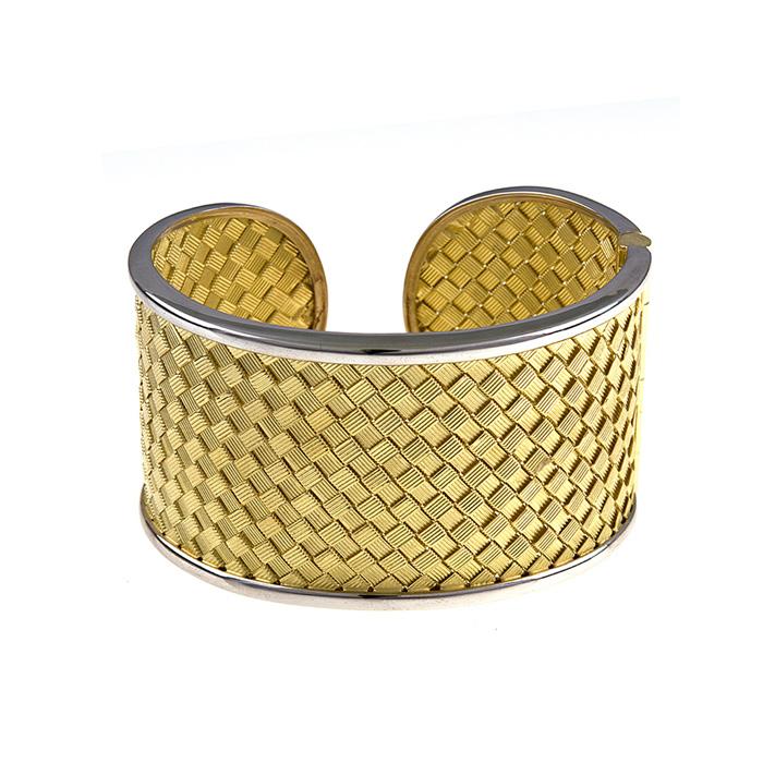 18K Yellow & White Gold 38.0mm Basket Weave Cuff Bracelet by SuperJeweler