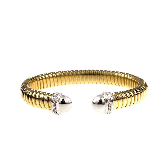 18K Yellow & White Gold Ribbed Cuff Bracelet w/ Diamonds by SuperJeweler