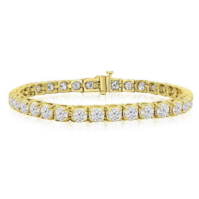 7.5 Inch 14K Yellow Gold (17 g) 12 Carat TDW Round Diamond Tennis Bracelet (, ) by SuperJeweler