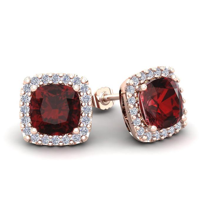 3 1/2 Carat Cushion Cut Garnet & Halo Diamond Stud Earrings in 14K Rose Gold (3.5 g),  by SuperJeweler