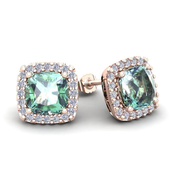 3 1/2 Carat Cushion Cut Green Amethyst & Halo Diamond Stud Earrings in 14K Rose Gold (3.5 g),  by SuperJeweler