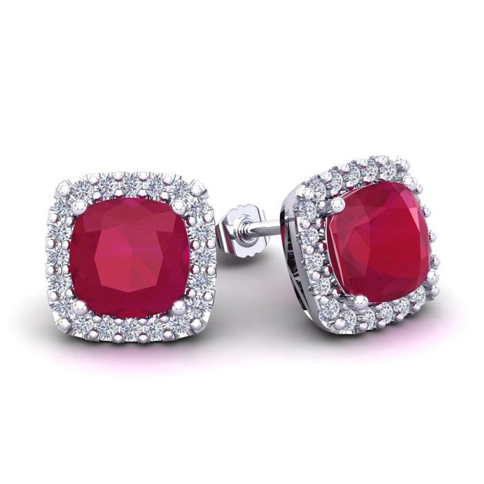 4 Carat Cushion Cut Ruby & Halo Diamond Stud Earrings in 14K White Gold (3.5 g),  by SuperJeweler