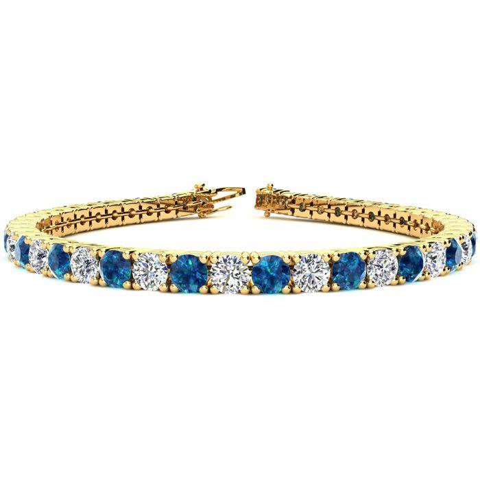 7.5 Inch 9 3/4 Carat Blue & White Diamond Tennis Bracelet in 14K Yellow Gold (12.9 g),  by SuperJeweler