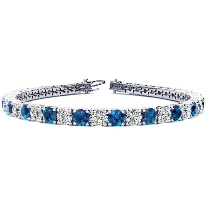 8.5 Inch 11 1/5 Carat Blue & White Diamond Tennis Bracelet in 14K White Gold (14.6 g),  by SuperJeweler