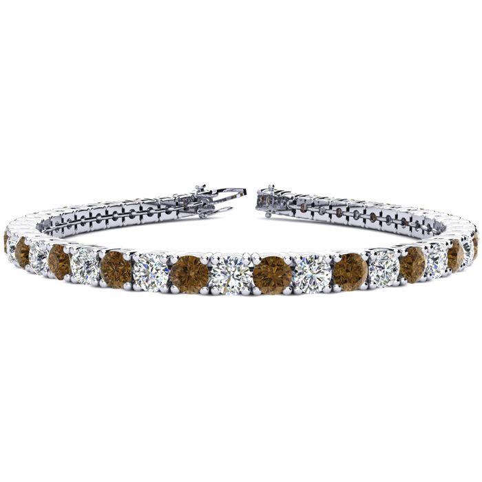 8.5 Inch 11 1/5 Carat Chocolate Bar Brown Champagne & White Diamond Tennis Bracelet in 14K White Gold (14.6 g),  by SuperJeweler