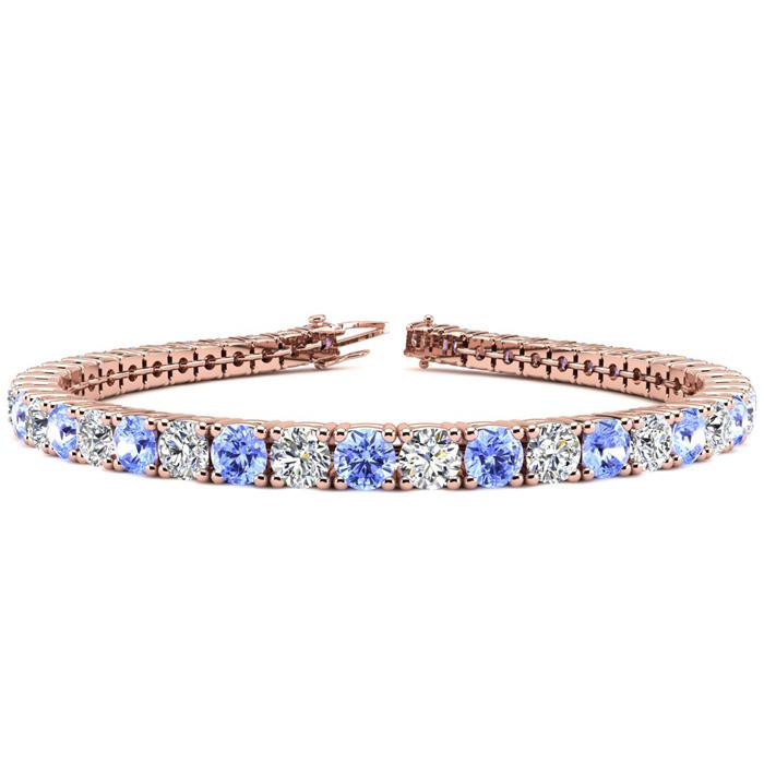 8.5 Inch 11 Carat Tanzanite & Diamond Tennis Bracelet in 14K Rose Gold (14.6 g),  by SuperJeweler