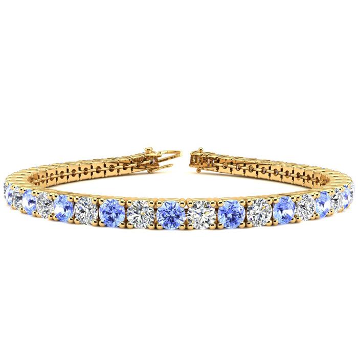 8.5 Inch 11 Carat Tanzanite & Diamond Tennis Bracelet in 14K Yellow Gold (14.6 g),  by SuperJeweler