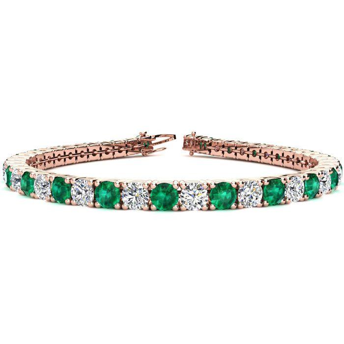8.5 Inch 12.5 Carat Emerald Cut & Diamond Tennis Bracelet in 14K Rose Gold (14.6 g),  by SuperJeweler