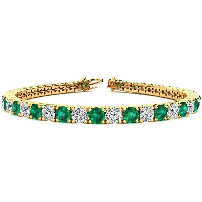 8.5 Inch 12.5 Carat Emerald Cut & Diamond Tennis Bracelet in 14K Yellow Gold (14.6 g),  by SuperJeweler
