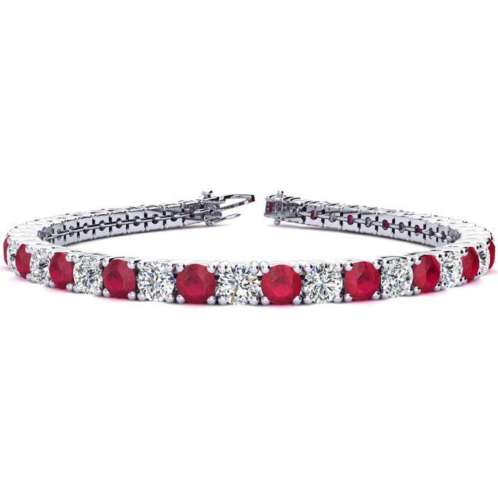 8.5 Inch 13 Carat Ruby & Diamond Tennis Bracelet in 14K White Gold (14.6 g),  by SuperJeweler
